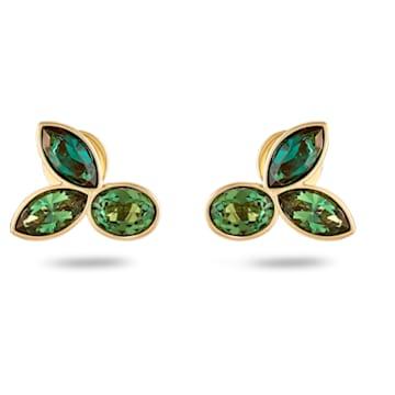 Beautiful Earth by Susan Rockefeller stud earrings, Bamboo, Green, Gold-tone plated - Swarovski, 5535883