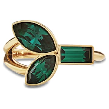 Bamboo-ring, Groen, Goudkleurige toplaag - Swarovski, 5535889