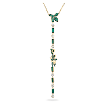 Collar en Y Beautiful Earth by Susan Rockefeller, Panda y bambú, Verde, Baño tono oro - Swarovski, 5535890