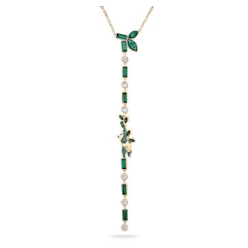 Collier en Y Beautiful Earth by Susan Rockefeller, Panda et bambou, Vert, Placage de ton or - Swarovski, 5535890