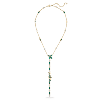 Beautiful Earth by Susan Rockefeller Y necklace, Panda and bamboo, Green, Gold-tone plated - Swarovski, 5535890