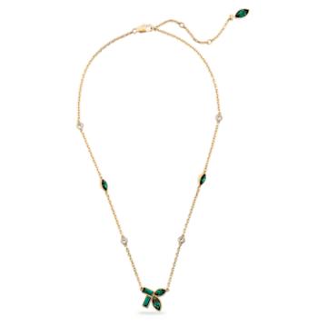 Bamboo-ketting, Groen, Goudkleurige toplaag - Swarovski, 5535891