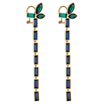 Bambusz bedugós fülbevaló, sötét többszínű, arany árnyalatú bevonattal - Swarovski, 5535892