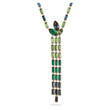 Bamboo Y-vormige ketting, Donker meerkleurig, Goudkleurige toplaag - Swarovski, 5535893