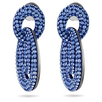 Tigris Pierced Earrings, Blue, Ruthenium plated - Swarovski, 5535899
