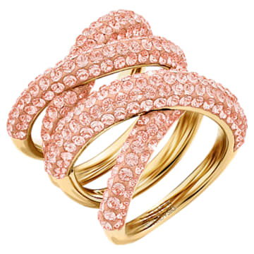 Tigris Wide Ring, Pink, Gold-tone plated - Swarovski, 5535904