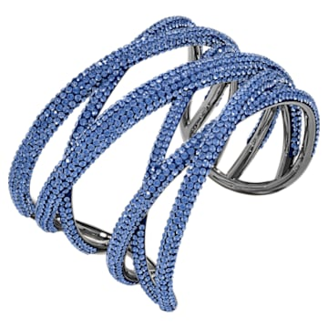 Tigris Cuff, Large, Blue, Ruthenium plated - Swarovski, 5535906