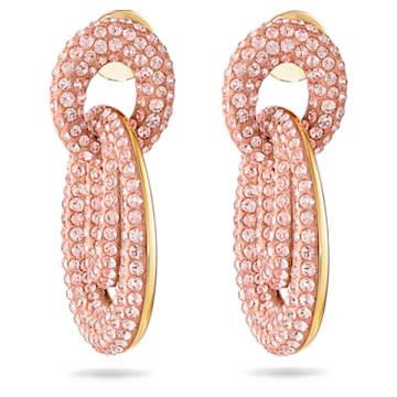 Tigris 穿孔耳環, 粉紅色, 鍍金色色調 - Swarovski, 5535908