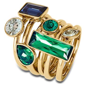 Conjunto de anillos (6) Beautiful Earth by Susan Rockefeller, colores oscuros, baño tono oro - Swarovski, 5535935