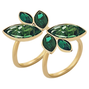 Bamboo-ring, Groen, Goudkleurige toplaag - Swarovski, 5535941