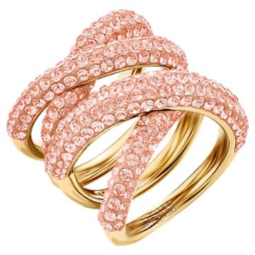 Tigris 寬版戒指, 粉紅色, 鍍金色色調 - Swarovski, 5535954