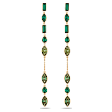 Beautiful Earth by Susan Rockefeller Pierced Earring Jackets, Long, Green, Gold-tone plated - Swarovski, 5535986