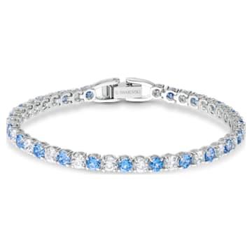 Tennis Deluxe-armband, Blauw, Rodium-verguld - Swarovski, 5536469