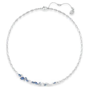 Louison necklace, Leaf, Blue, Rhodium plated - Swarovski, 5536547