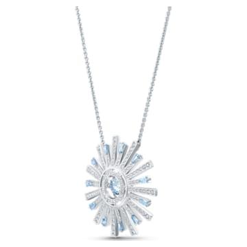 Sunshine Necklace, Blue, Rhodium plated - Swarovski, 5536731