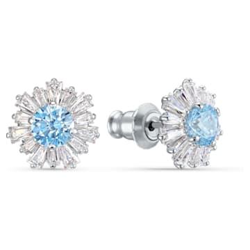 Sunshine Ohrringe, blau, rhodiniert - Swarovski, 5536741