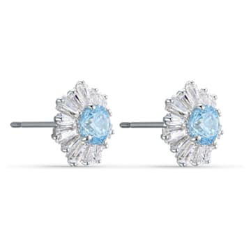 Sunshine Pierced Earrings, Blue, Rhodium plated - Swarovski, 5536741