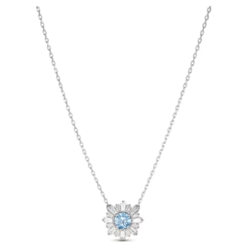 Sunshine pendant, Sun, Blue, Rhodium plated - Swarovski, 5536742