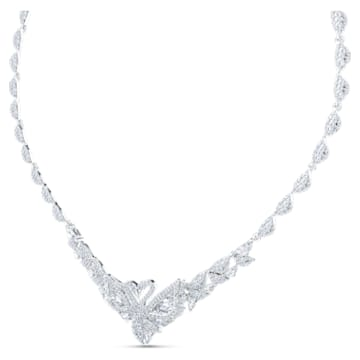 Táncoló hattyú nyaklánc, fehér, ródium bevonattal - Swarovski, 5536766