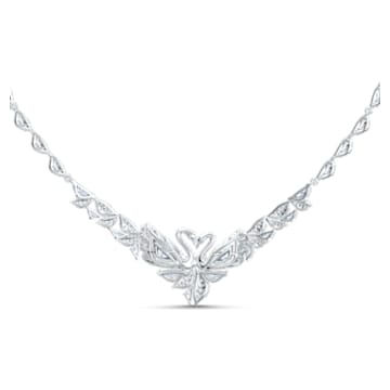 Dancing Swan 項鏈, 密鑲, 天鵝, 白色, 鍍白金色 - Swarovski, 5536766