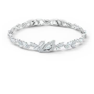 Dancing Swan Armband, weiss, rhodiniert - Swarovski, 5536767