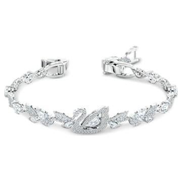 Dancing Swan 手链, 白色, 镀铑 - Swarovski, 5536767