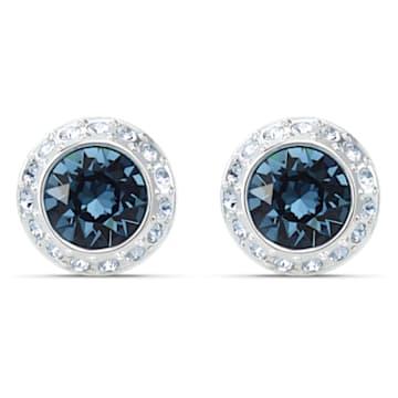 Pendientes de botón Angelic, azul, baño de rodio - Swarovski, 5536770