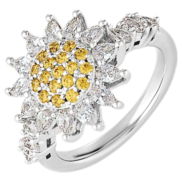 Botanical 戒指, 黄色, 镀铑 - Swarovski, 5536875