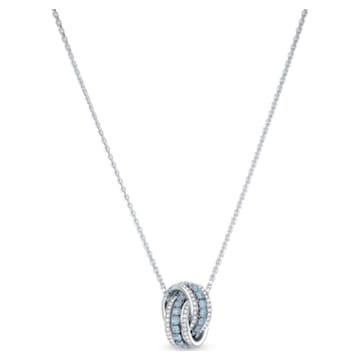 Pendentif Further, bleu, métal rhodié - Swarovski, 5537106