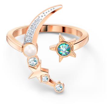 Starry Night Moon Ring, Light multi-colored, Rose-gold tone plated - Swarovski, 5537126
