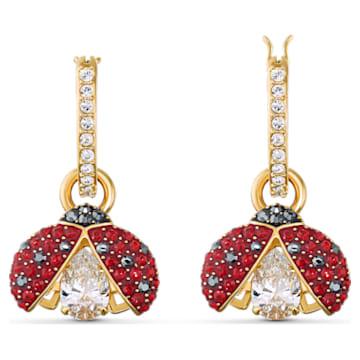 Swarovski Sparkling Dance Ladybug Ohrringe, rot, vergoldet - Swarovski, 5537490