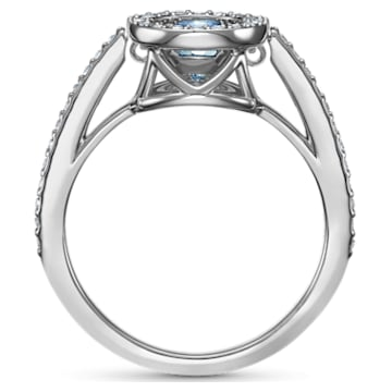 Bague Swarovski Sparkling Dance Round, aiguemarine turquoise, métal rhodié - Swarovski, 5537793