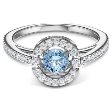 Swarovski Sparkling Dance Round Ring, Aqua, Rhodium plated - Swarovski, 5537794