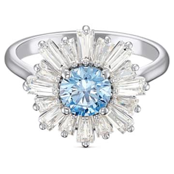 Pierścionek Sunshine, niebieski, powlekany rodem - Swarovski, 5537797