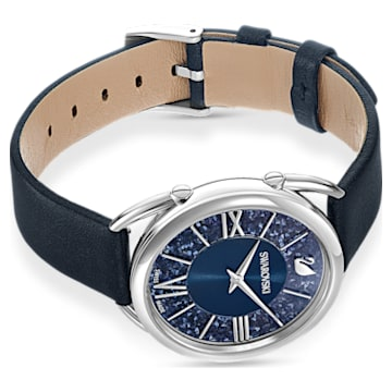 Crystalline Glam Часы, Кожаный ремешок, Синий Кристалл, Нержавеющая сталь - Swarovski, 5537961
