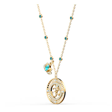 Swarovski Symbolic Lotus Pendant, Green, Gold-tone plated - Swarovski, 5538072