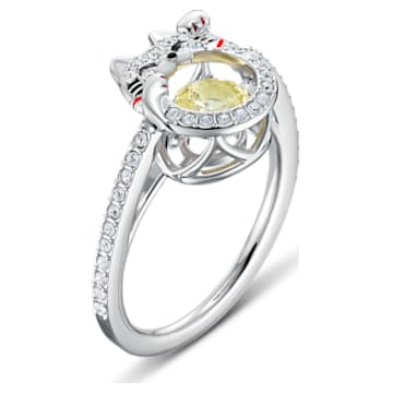 Swarovski Sparkling Dance Cat 戒指, 淺色漸變, 鍍白金色 - Swarovski, 5538138