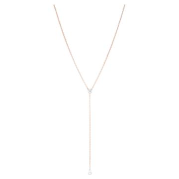 Collier en Y Attract Soul, Blanc, Métal doré rose - Swarovski, 5539007