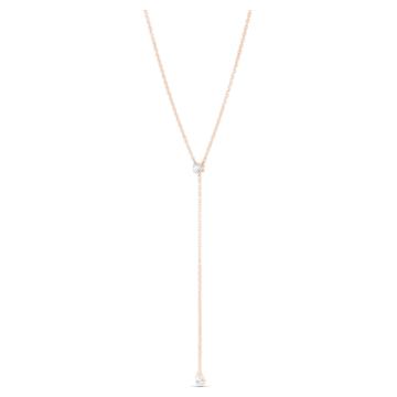 Κολιέ Y Attract Soul, λευκό, επιχρυσωμένο με ροζ χρυσό - Swarovski, 5539007