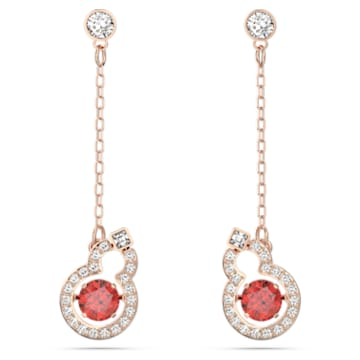Full Blessing earrings, Hulu, Red, Rose-gold tone plated - Swarovski, 5539895