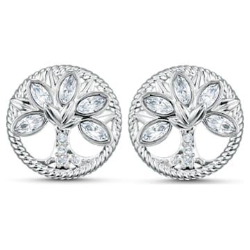 Boucles d'oreilles clous Swarovski Symbolic Tree of Life, blanc, métal rhodié - Swarovski, 5540301