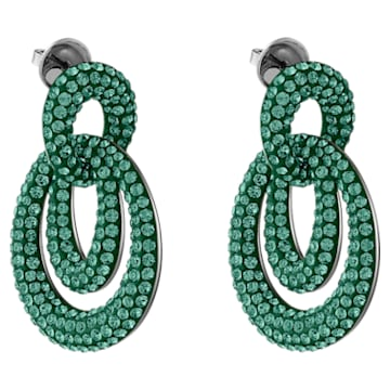Tigris Pierced Earrings, Green, Ruthenium plated - Swarovski, 5540373