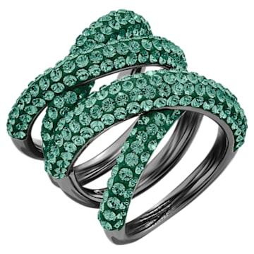 Tigris Wide Ring, Green, Ruthenium plated - Swarovski, 5540378