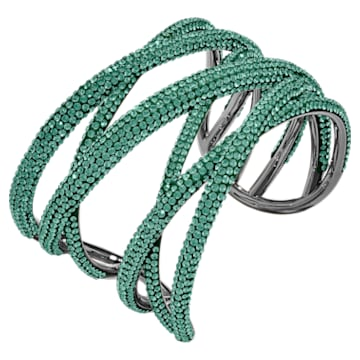 Tigris Cuff, Large, Green, Ruthenium plated - Swarovski, 5540380