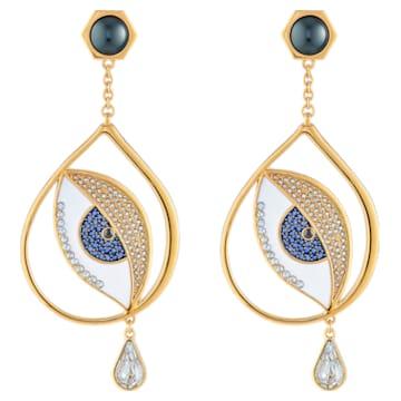Surreal Dream Pierced Earrings, Eye, Blue, Gold-tone plated - Swarovski, 5540645