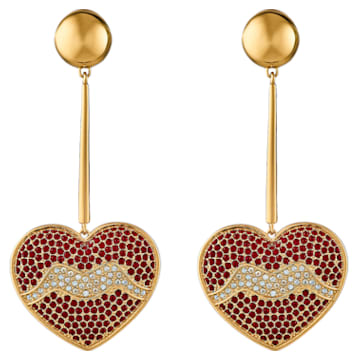 Pendientes Surreal Dream, corazón, rojo, baño tono oro - Swarovski, 5540648