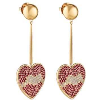 Orecchini Surreal Dream, cuore, rosso, placcato color oro - Swarovski, 5540648