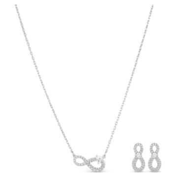 Conjunto Swarovski Infinity, blanco, baño de rodio - Swarovski, 5540702