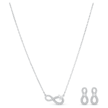 Set Swarovski Infinity, bianco, placcato rodio - Swarovski, 5540702
