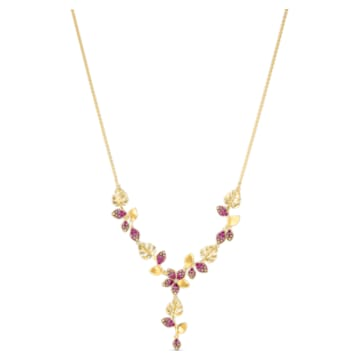 Tropical Flower 項鏈, 粉紅色, 鍍金色色調 - Swarovski, 5541061